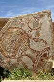 An old Roman mosaic with wine jar and grape — Stock Photo