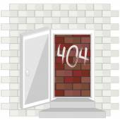 Error 404 concept with blocked door — Stock Vector