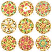 Nine isolated pizzas — Cтоковый вектор