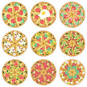 Nine isolated pizzas — Vettoriale Stock