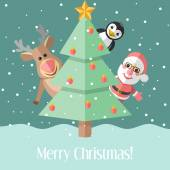 Christmas card with fir tree and Christmas characters — Vector de stock