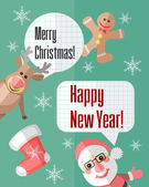 Christmas card with Santa Claus and reindeer and speech bubbles — Vector de stock
