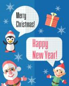 Christmas card with Santa Claus and elf and speech bubbles — Vector de stock