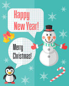 Christmas card with snowman and penguin and speech bubbles — Vector de stock