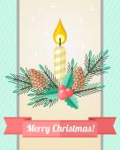 Christmas card with candle and fir twigs — Stock Vector