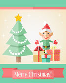 Christmas card with fir tree and elf — Stock Vector