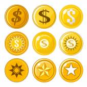 Set of nine coins or tokens — Stock Vector