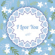 Blue greeting card with white flowers — Stock Vector #69547149