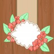 Retro label over brown wood with red flowers and leaves — Stock Vector #71978931