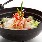Sopa de mariscos y pollo — Foto de Stock