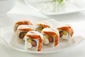 Salmon and Smoked Eel Maki Sushi — Stock Photo
