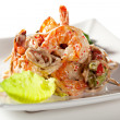 Japanese Cuisine - Hot Noodles with Seafood — Stock Photo #68036977