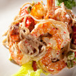 Japanese Cuisine - Hot Noodles with Seafood — Stock Photo #68037991