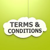 Terms and conditions word in green background — Stock Photo