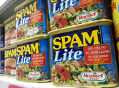 SINGAPORE, 20 SEP: Hormel brand Spam Lite cans are being sold in — Stock Photo