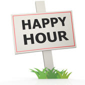 Witte banner met happy hour — Stockfoto
