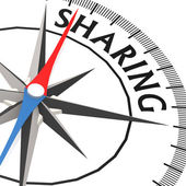 Compass with sharing word — Stock Photo