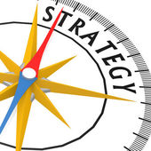 Compass with strategy word — Stock Photo