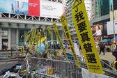 Hong Kong democracy protesters are fighting off their chief exec — Stock fotografie