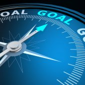 Goal word on compass — Stock Photo