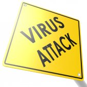 Road sign with virus attack — Stock Photo