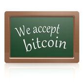 We accept bitcoin black board — Стоковое фото