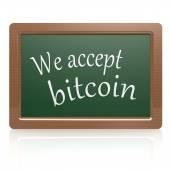 We accept bitcoin black board — Photo