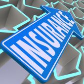Insurance blue arrow — Stock Photo