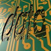 PCB and data word — Stock Photo
