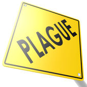 Road sign with plague word — Stock Photo