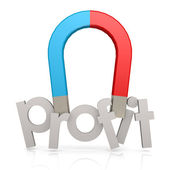 Magnet and profit word — Stock Photo