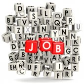 Job with puzzle background — Stock Photo