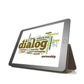 Dialog word cloud on tablet — Stock Photo