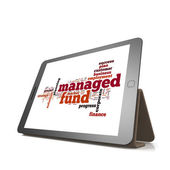 Managed fund word cloud on tablet — Stock Photo