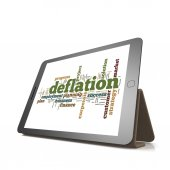 Deflation word cloud on tablet — Stock Photo