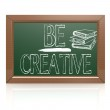 Be Creative written with chalk on blackboard — Stock Photo #69816899