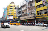 View of a busy street in Chinatown in Bangkok — Stock Photo