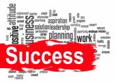Success word cloud with red banner — Stock Photo