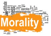 Morality word cloud with yellow banner — Stock Photo