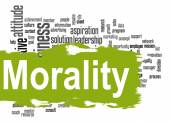 Morality word cloud with green banner — Stock Photo
