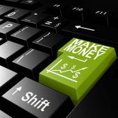 Make money word on the green enter keyboard — Stock Photo