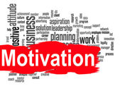 Motivation word cloud with red banner — Stock Photo