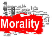 Morality word cloud with red banner — Stock Photo