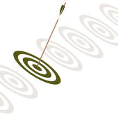 Arrow hitting the center of a green board — Stock Photo