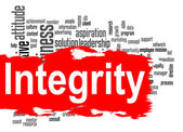 Integrity word cloud with red banner — Stock Photo