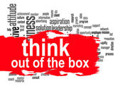 Think out of the box word cloud with red banner — Stock Photo