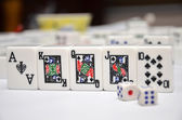Mahjong set with royal flush — Stock Photo