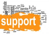 Support word cloud with yellow banner — Stock Photo