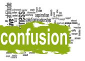 Confusion word cloud with green banner — Stock Photo
