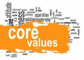 Core values word cloud with yellow banner — Stock Photo